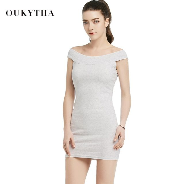 Oukytha 2017 Summer Autumn Off Shoulder Mini Dress Casual Sleeveless Above Knee-length Cotton Sheath Black/Grey Dress M16022