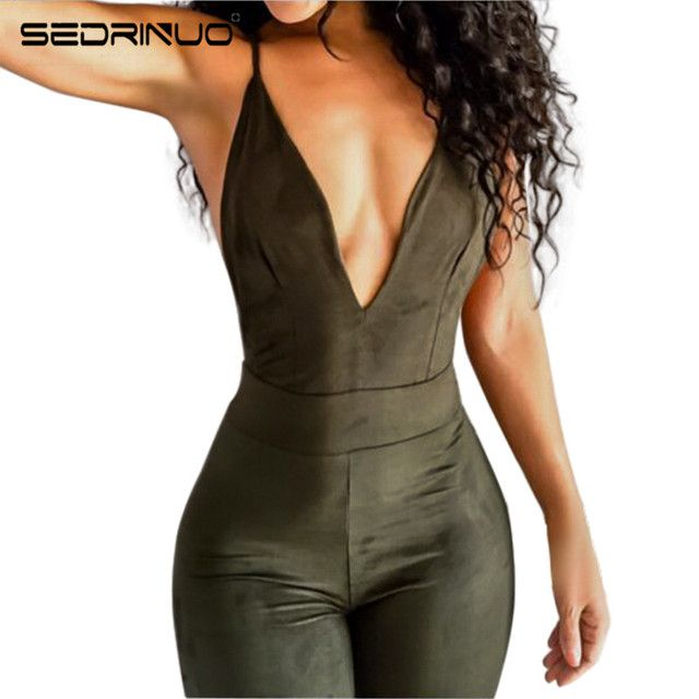 Sedrinuo Women Sexy Jumpsuits Casual Rompers Backless Spaghetti Strap V neck Bodycon Summer 2017 New Playsuit for Club