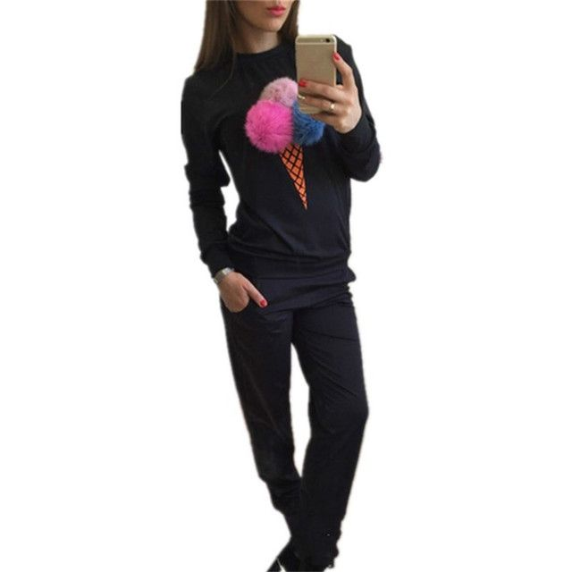 European New Arrivals Sweatshirts and Pants Women Suits Colorful Plush Ball Tracksuits Female Plus Size O-neck  Sportswear 63017