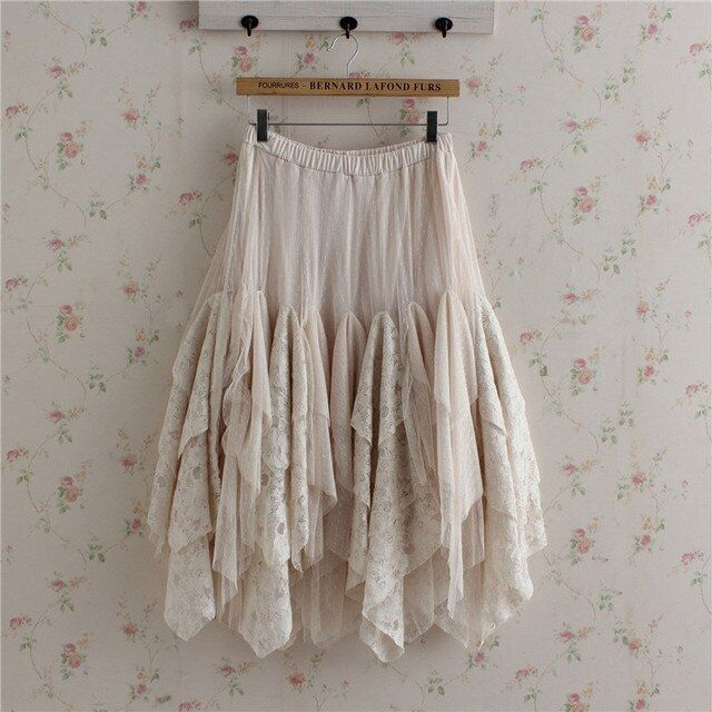 Autumn Japanese Women's Cute Sweet Loose Solid Bottoming Lace Cake Ruffle Lolita Kawaii Female Princess Skirt Mori Girl U143