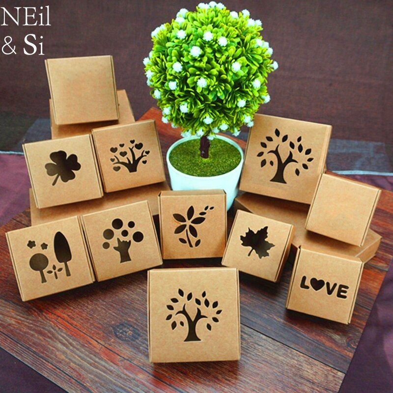Kraft Paper Hollow Box Handmade Soap Wedding Favor Gift Candy Packaging Brown Window Boxes 50pcs Free Shipping