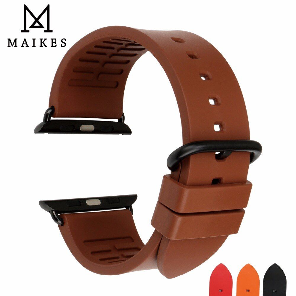 MAIKES For Apple Watch Band Fluoro Ruuber Watch Strap For Apple Watch 44mm 40mm 42mm 38mm Sport Series 4 3 2 1 iWatch All Models