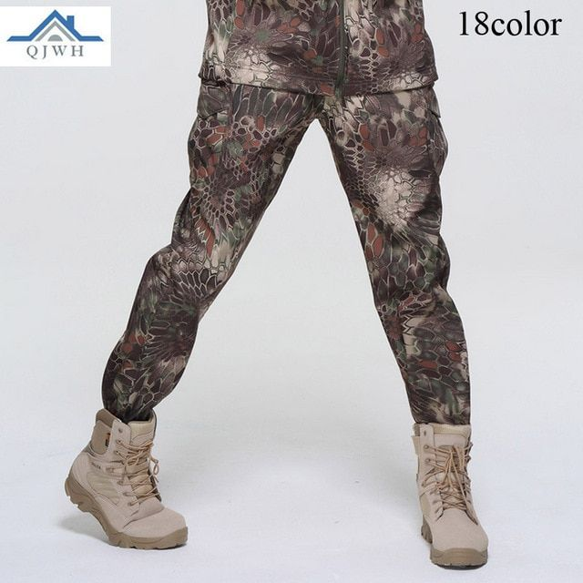High Quality 2017 Winter Outdoors men Fleece Soft Shell Sweat Waterproof Breathable TAD Tactical Army Baggy Camouflage Pants Men