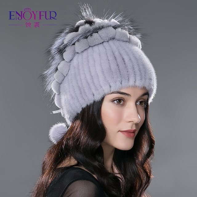 Winter  fur hat  for lady  knitted mink rex rabbit fur beanies cap with fur pompom fashion luxury headgear women chapeau