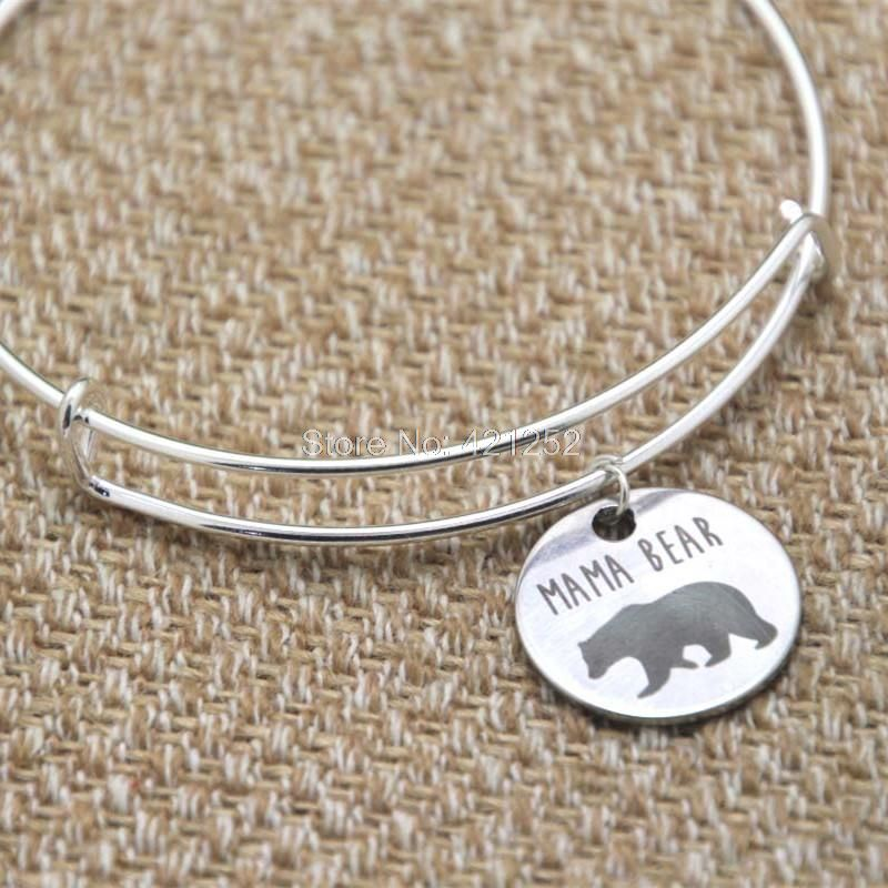 Mama bear charm bracelet   bangles silver tone mother's day gift christmas gift