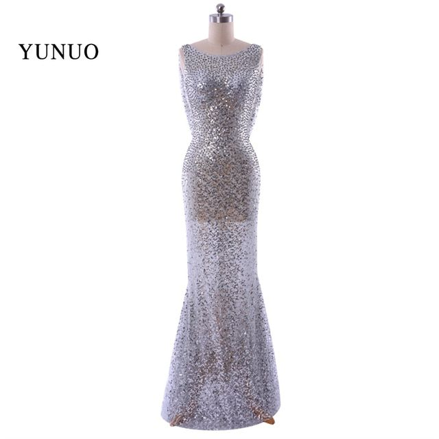 Sparkly Silver Mermaid Sexy Evening Dress Backless Long Sequines Sleeveless Real Photo  Custom vestidos de festa x11253