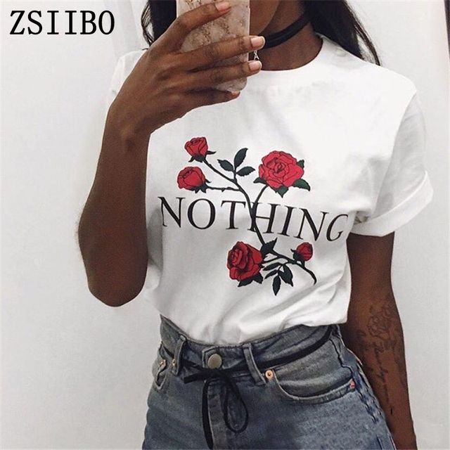 Nothing Rose print T Shirt Harajuku T-Shirt Women 2017 Summer Casual Short Sleeve T Shirt Plus Size Punk BTS
