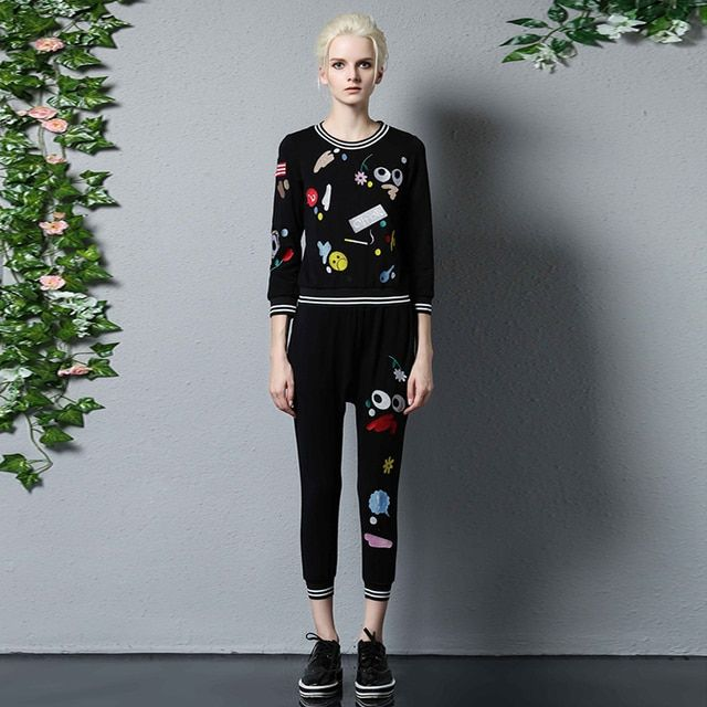 Casual Black Suits 2016 Autumn Women Casual Embroidery Hot Sale Loose Top + Fashion Cotton Soft Waist Elastic Pants Sets