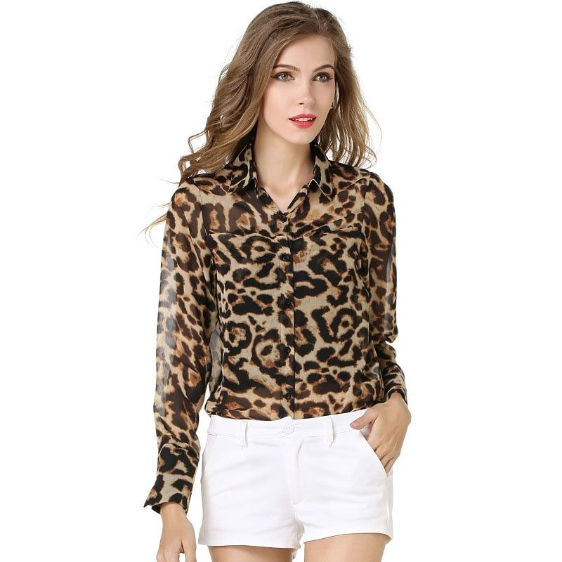 New Fashion Women Leopard Print Shirts Office Lady Tops and Blouses Long Sleeve Turn-down Collar Loose Vintage Tops
