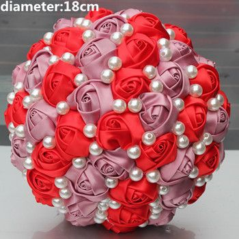 Big Discount Red Bridal Bouquets Satin Rose Holding Wedding Bouquet Durable Half Ball Holding Flowers Accept Custom