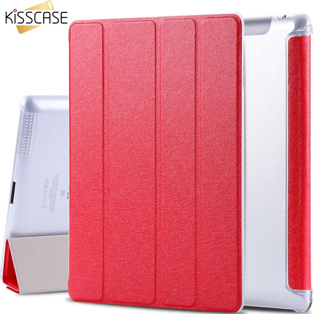 KISSCASE Stand Four Folders Case For Apple iPad 2 3 4 Slim Light Slik PU Leather Flip With Transparent Clear Matte Cover