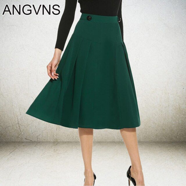 ANGVNS Lady Skirt Vintage Elegant Big Swing Saia Longa Skater Skirt For Women Casual Fit and Flare Skirts S,M,L,XL