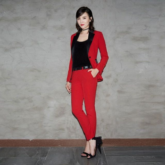 HIGH QUALITY Designer Runway Suit Set Women's Color Block Blazer Red Pants Set Clothing Set