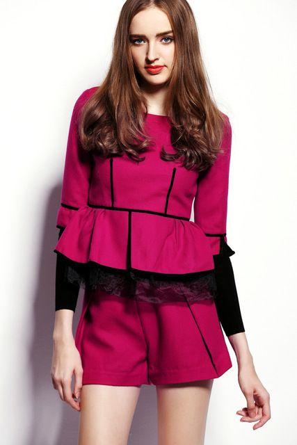 2016 New Autumn Winter Women Fashion Suits Elegant Office Half Sleeve Rose Red Ruffle Woolen Top and Shorts Sets
