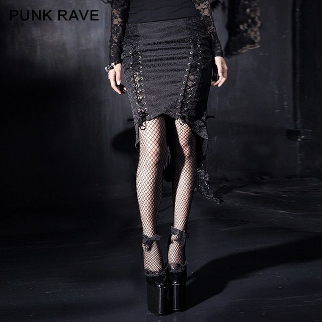 Punk Rave Gothic Fishtail Skirt Skirt Asymmetrical Sexy Ladies Lace Floral Fishtail Q-182
