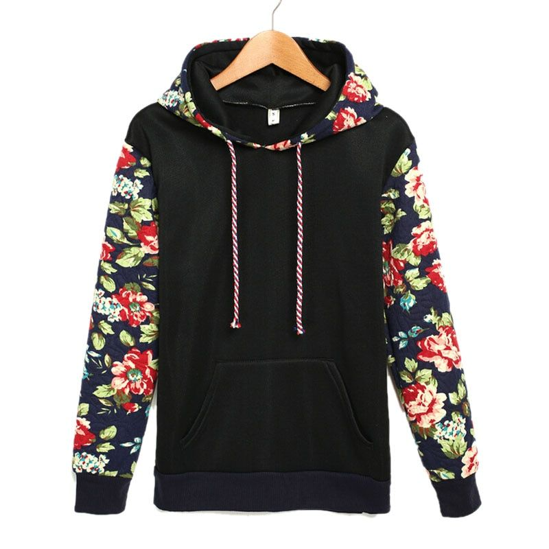 Autumn Women Sweatshirt Casual Warm Floral Printed Hoodies Sweatshirts Long Sleeve Hooded Sudaderas Mujer Women Clothes