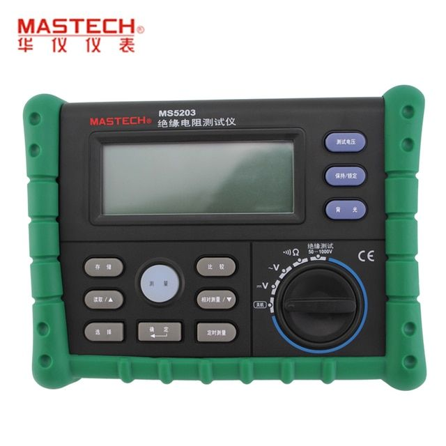 MASTECH MS5203 Digital Insulation Resistance Tester Meter Multimeter 10G 1000V English panel