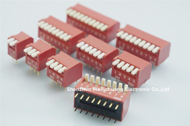 100pcs Dip Switch SPST 2 3 4 5 6 8 9 10 Position Through Hole Right Angle Piano Actuator PCB Mount Straight 25mA 24VDC