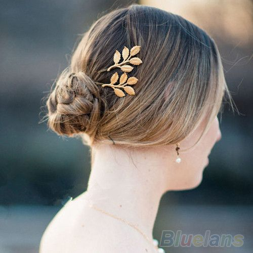 1Pc Fashion Lovely Leaves Golden Metal Punk Hairpin Hair Clip Hair Accessories Personality Golden Leaf Hair Apparel Accessories