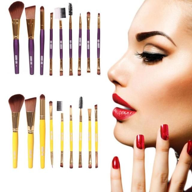 MAANGE 9pcs Pro Makeup Cosmetic Brushes Eyeshadow Eye Shadow Foundation Blending Brush High Quality Nylon Fiber Anne