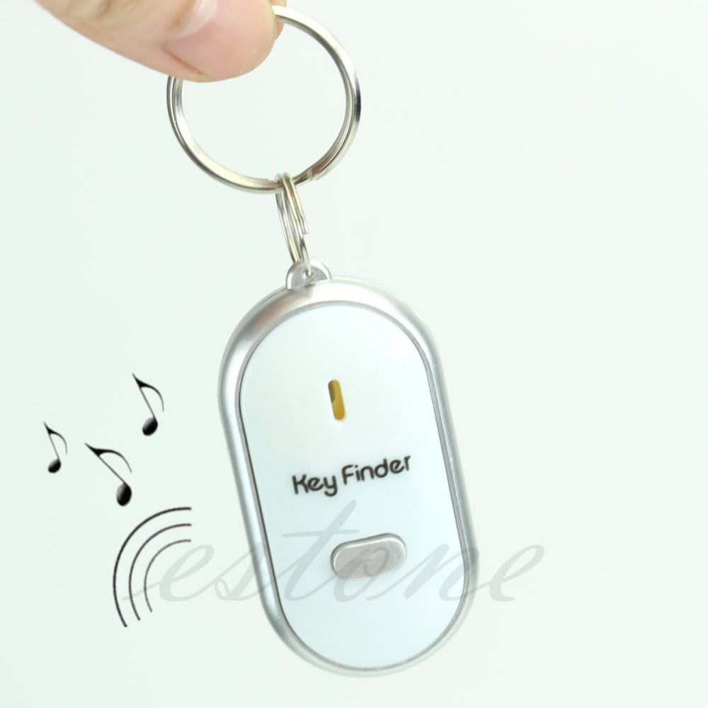 1pcs White LED Locator Find Lost Whistle Sound Control Hair clow For Key Finder