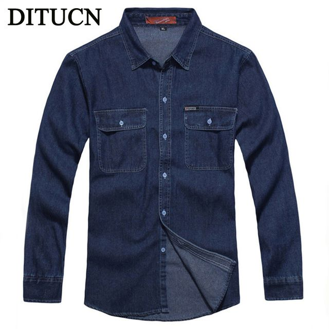 2016 New Arrival Men Jeans Shirt Cotton Denim Shirt Long Sleeve Denim Shirts Men's Single Breasted Patchwork Cowboy Washed Homme