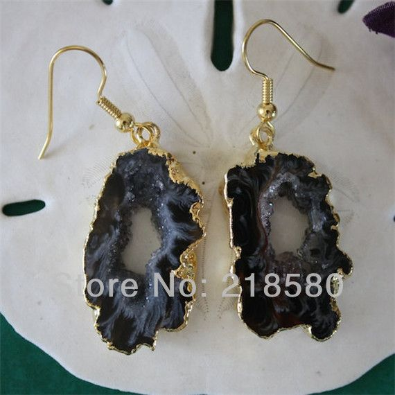H-QE07 5pairs/lot  Black  Agat Slice Geode Druzy Earrings 24k Gold Color