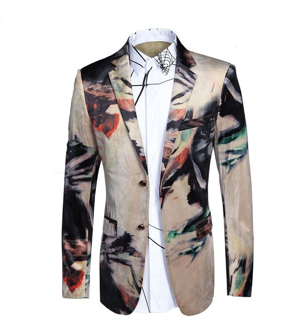 HOT! Luxury 2017 new arrival Italian style printed velvet casual blazer men blazer masculin,jacket men plus-size M-L-XL-XXL-3XL