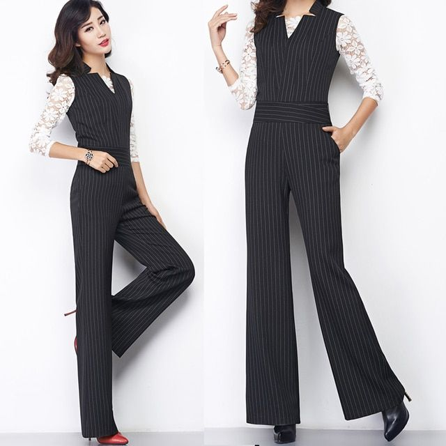 Summer Fall 2016 New Womens Striped Sleeveless V Neck Wide Leg Slim Jumpsuits Overalls , Female Elegant Casual Spring Pants