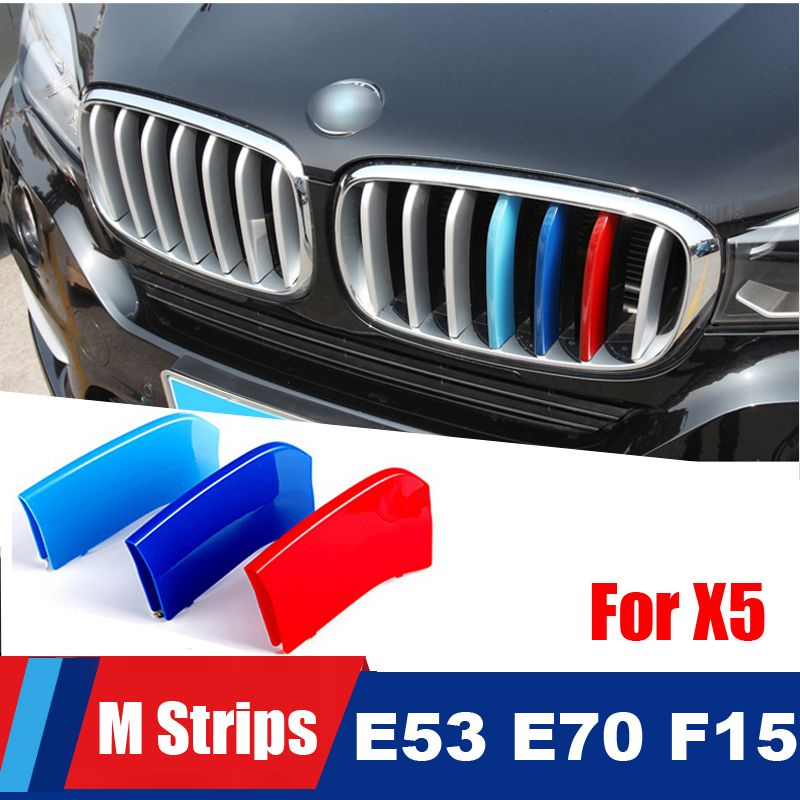 For 2004 to 2018 BMW X5 E53 E70 F15 3D M styling Car Front Grille Trim Strips grill Cover motorsport Decoration Stickers