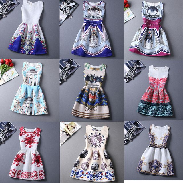 21 Colors Women Summer Style Dress Vintage Sexy Women'S Party Dress Vestidos Plus Size Printing Women'S Clothing Short Dresses