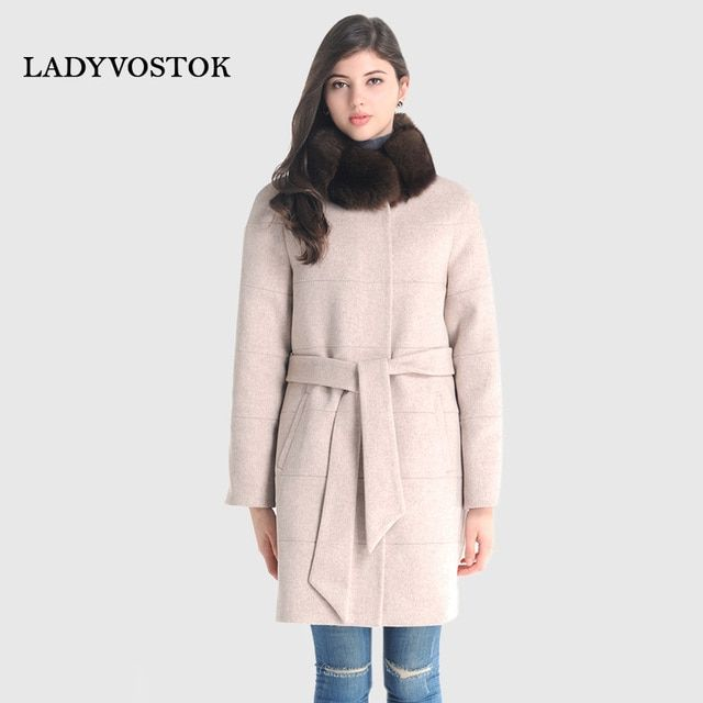 LADYVOSTOK Autumn and Winter Women Coat Long Fox Fur Collar Belt Coat Warm Cashmere Coat Plus Size 18262
