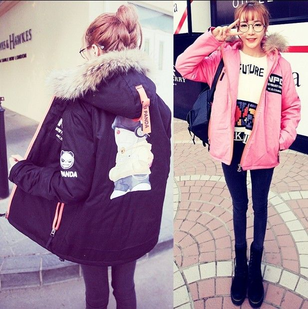 Korean Institute of wind Harajuku loose cartoon collar ovo big yards long section of thick cotton windbreaker female