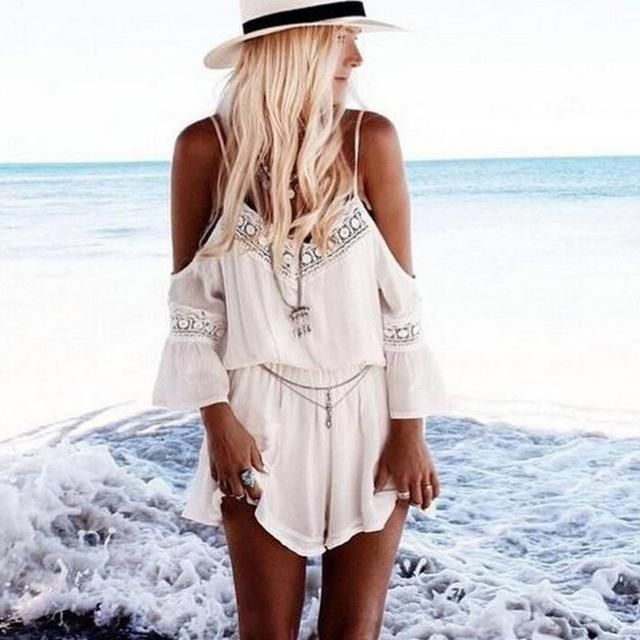 Women Lace Chiffon Jumpsuit Rompers Summer Sexy Strap Off Shoulder Backless Bodysuit Beach Wear Playsuit Short Overalls