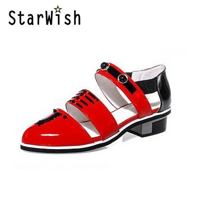 STARWISH New Color Block Patent Gladiator Sandals For Women Fashion Cut-outs Low Heel Summer Shoes Woman Ladies Fashion Sandals