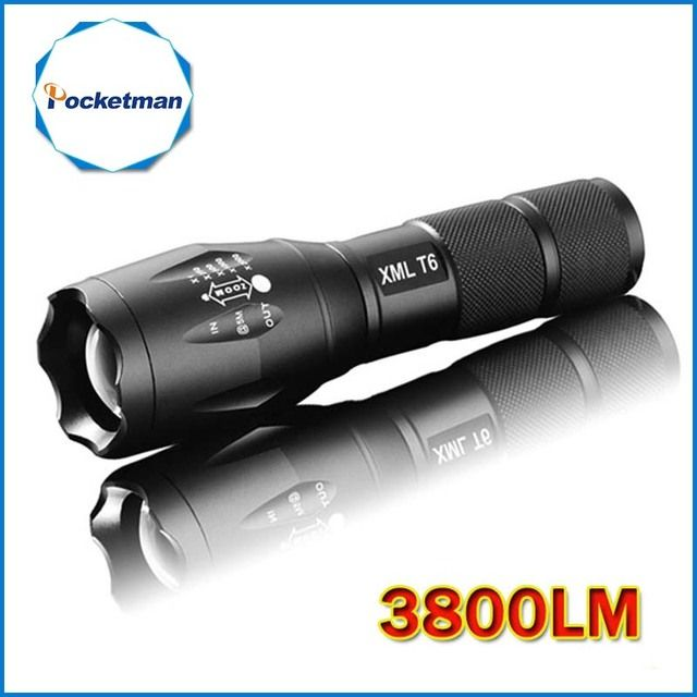 LED Flashlight 3800 Lumens Tactical Flashlight CREE XM-L T6 LED Torch Zoomable cree light For 3xAAA or 1x18650 Camping Hiking