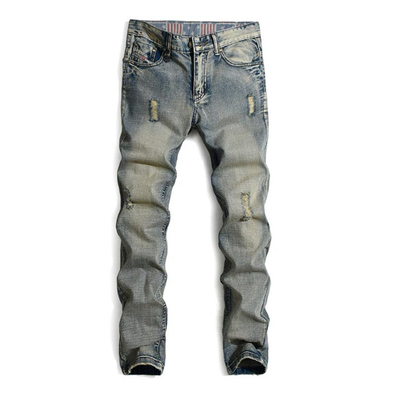 Italian Fashion Designer Mens Jeans High Quality Retro Color Ripped Distressed Jeans Men Famous Brand Casual Denim Biker Jeans