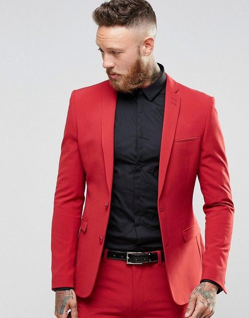 Tailor Made 2016 Newest Red Men's Wedding Prom Tuxedos 2 Pieces Suits For Man Two Button Blazer Formal Dinner Costumes For Male