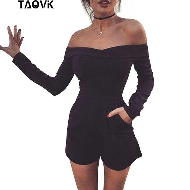 TAOVK 2018 new fashion Women Rompers and Jumpsuit strapless Solid Color Summer Shorts
