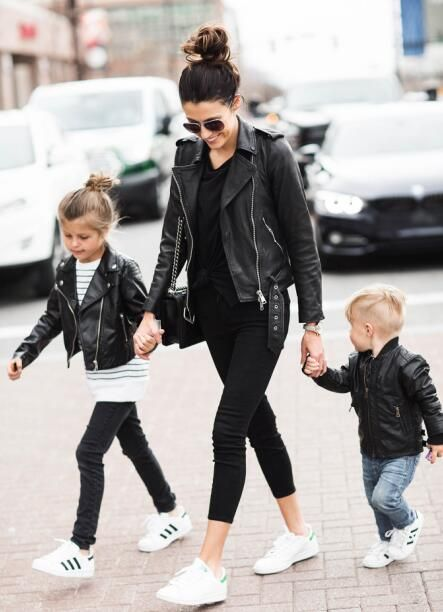 2015 autumn family matching outfits clothes fashion mother and daughter clothes faux leather jacket mother son outfits jacket
