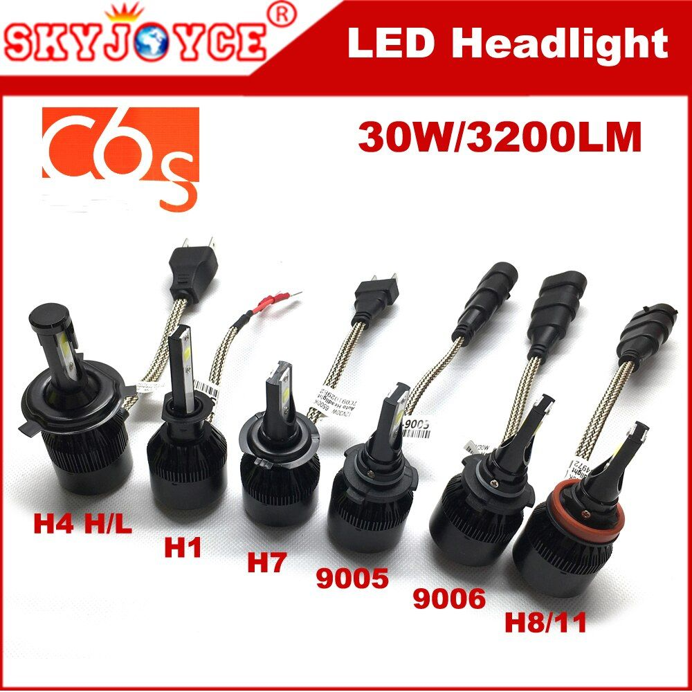 2pcs 30W H4 xenon white LED headlight H4 COB H8 H11 car led headlight H7 9005 HB3 HB4 9006 H3 H11 H1 led auto headlamp bulbs