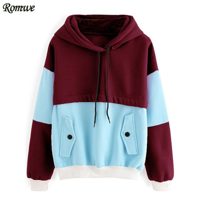 ROMWE Women Casual Hoodie For Autumn Ladies Multicolor Pullovers Color Block Contrast Trim Long Sleeve Hooded Sweatshirt