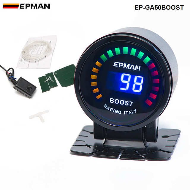 "2"" 52mm Digital Color Analog LED PSI/BAR Turbo Boost Gauge Meter W' Sensor Monitor Racing Gauge FOR BMW M3 EP-GA50BOOST"