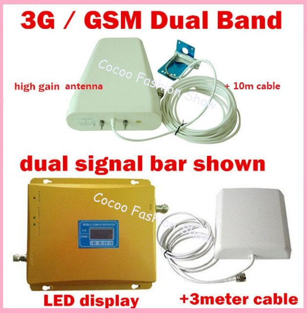 Newest GSM 2G 3G LCD Signal booster ! Dual Band FDD GSM 900 GSM 2100 Mobile Phone Repeater Amplifier 3G Signal Booster FULL SET
