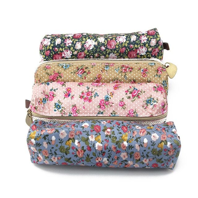 Elegant stationery pencil Pen bags pen holder kawaii school stationery pencil caseSmall Fresh fabric Floral Pen Pencil