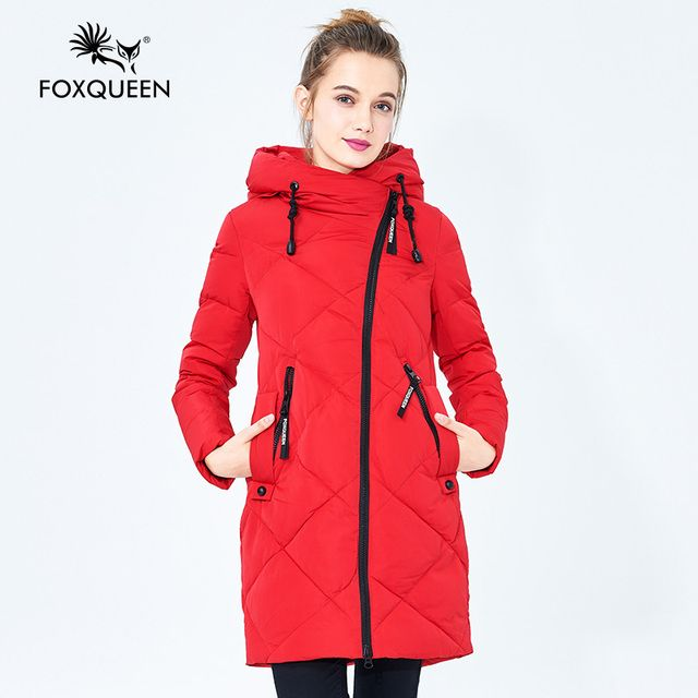 Foxqueen 2016 New Winter Women's Girl's Casual Hooded Down Cotton Coat Thick Parka Female Solid Color High Quality Free Shipping