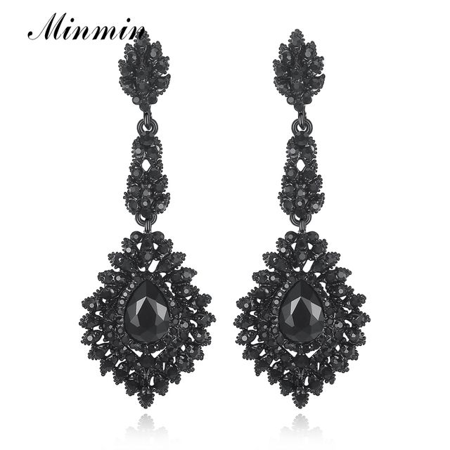 Minmin Vintage Black Long Chandelier Drop Earrings for Women Teardrop Crystal Wedding Bridal Earrings Fashion Jewelry 2019 EH192
