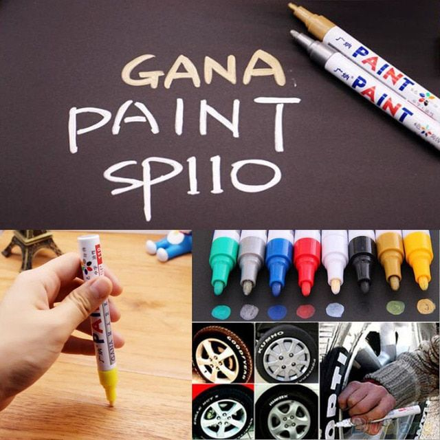 12 Color Waterproof Car Tyre Tread Rubber Metal Permanent Paint Marker Child Student Marking Painting Graffiti Stationery