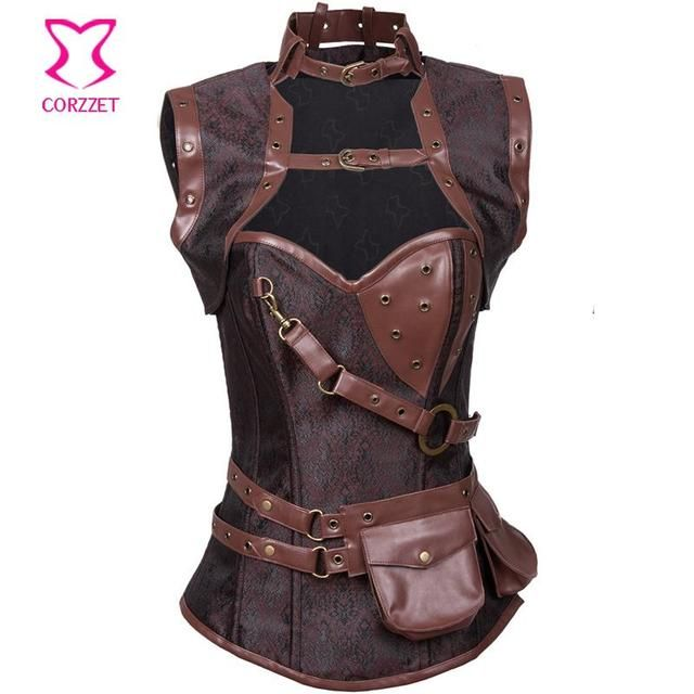 New Brown Vintage Gothic Corset Steampunk Steel Boned Overbust Waist Trainer Corsets Slimming Corpetes E Espartilhos For Women