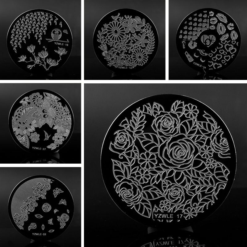 FWC 1 Pc 30 Designs Available YZWLE Stamping Plate Lace Negative Space Leaves Flowers Nail Art Template Tools Accessories